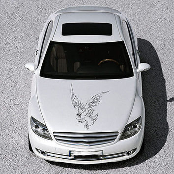 ANIMAL EAGLE BIRD WINGS DESIGN HOOD CAR VINYL STICKER DECALS ART MURALS SV1472