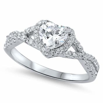 Sterling Silver .925 Engagement CZ Infinity Heart Halo Band Promise Ring Sz 4-10