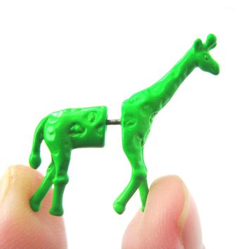 Fake Gauge Earrings: Unique Giraffe Shaped Animal Faux Plug Stud Earrings in Green