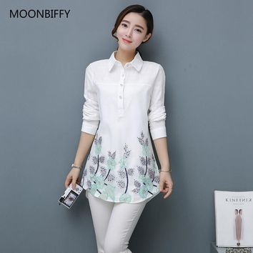Vogue Maternity Women Clothing Floral Embroidered Blouse Loose Lapel Slim Cotton Shirt Long Sleeve Maternity Blouses