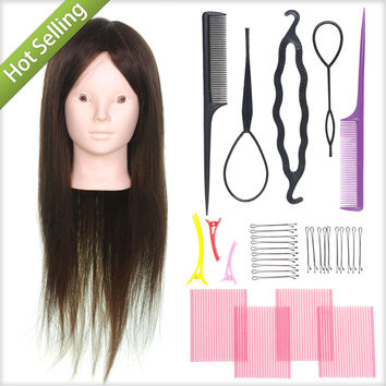 "Makeup + Brown 22"" 80% Real Human Hair Salon Female Mannequin Doll Hairdressing Train Practice 20% Animal Hair Head + Braid Tool"