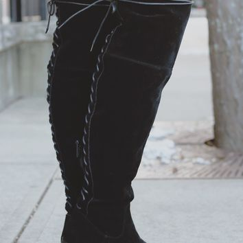 Full Throttle Over the Knee Boots - Black