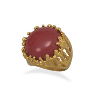Gold Plated Brass Red Coral Ring