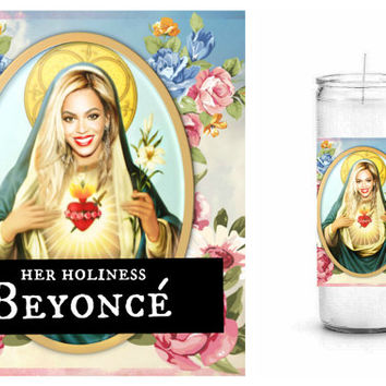 Beyoncé Prayer Candle - White Unscented Prayer Candle - Her Holiness Beyoncé