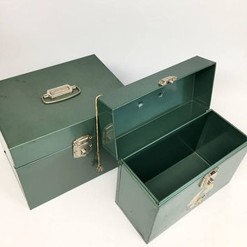 Set Porta File Boxes, Office Storage, Vintage Office Supplies, Mid Century Office Supplies, Metal Storage Box, Retro Office Storage