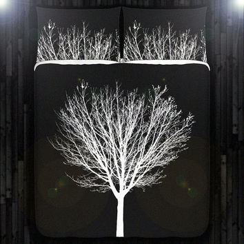 White Winter Tree Black Duvet Cover Bedding Queen Size King Twin Blanket Sheet Full Double Comforter Toddler Daybed Kid Teen Dorm