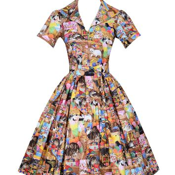 Bernie Dexter Pin up Lauren Dress in Crazy Cat Lady print 50''s Inspired
