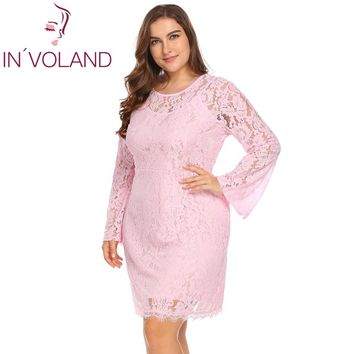 IN'VOALND Big Size XL-5XL Women Lace Dress Party Elegant Flare Sleeve Floral Bodycon Sheath Large Dresses Vestidos Plus Size