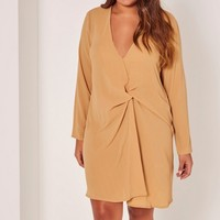 Missguided - Plus Size Knot Oversize Dress Beige