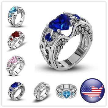 US Stock Princess 925 Silver Zircon Birthstone Wedding Engagement Heart Ring Hot