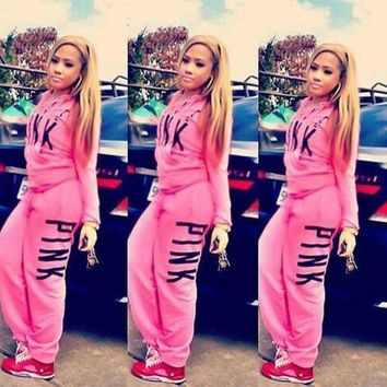 PINK Victoria's Secret Fashion Top Sweater Pullover Pants Trousers Set Two-Piece