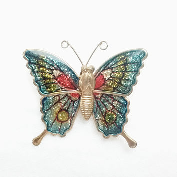 Brooch - Teal Blue - Green and Red Enamel Butterfly