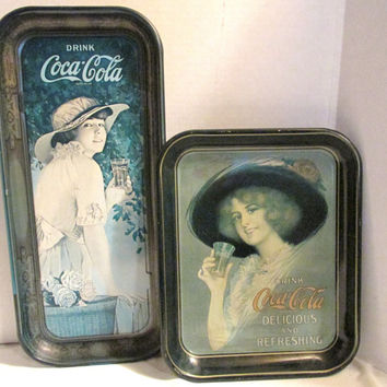 Coca Cola Collectors Advertising metal tin trays set of two 1972 Repro