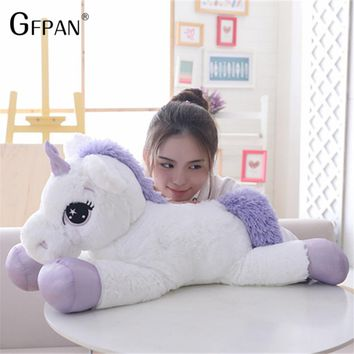 Giant 110cm Unicorn Plush Toy Soft Stuffed  Cartoon Unicorn Dolls Animal Horse Toy High Quality Toys for Children Girls