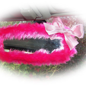 Hot barbie pink cute faux fur furry fluffy fuzzy rear view interior car mirror cover with baby pink satin bow girly girl cerise bright