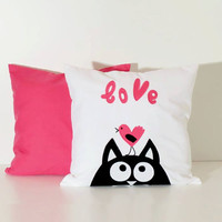Love Pillow, Pink Pillow, Cat Pillow covers (2), Cotton, Appliquéd cat  in black, pink and white