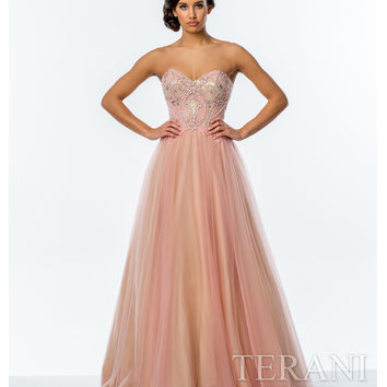 Coral & Nude Intricate Detailed Bodice Gown