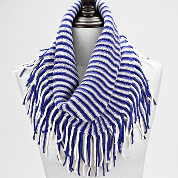 Two Tone Striped Snood Infinity Scarf Fringe Blue & White