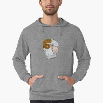 'Merino Ram Sheep Head Drawing' Lightweight Hoodie by patrimonio