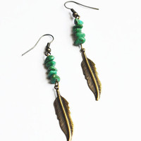 Turquoise Feather Earrings. Bohemian Tribal Jewelry. Long Feather Earrings.