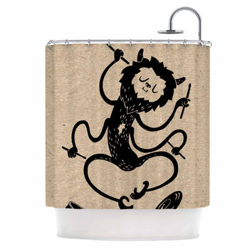 "Anya Volk ""Music Monster"" Brown Fantasy Shower Curtain"