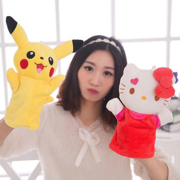 15 kinds Good Quality Plush hand puppets Parent-child early childhood toys kitty Pikachu Minnie Mickey rabbit hand puppets