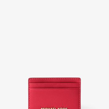 Jet Set Travel Saffiano Leather Card Case | Michael Kors