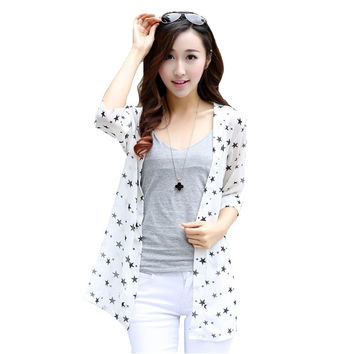 Women Spring Summer Coat Girls uv Protection Clothing Cardigan Autumn Nice Star Cross Print Casual Blouse Bottoming Sun Shirt