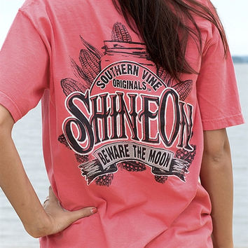 Southern Vine Originals Shine On Mason Jar Beware of the Moon Moonshine Unisex Salmon Bright Pocket T Shirt