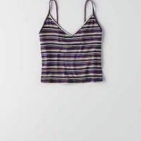 Don't Ask Why Stripe Crop Tank, Purple