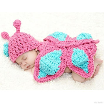New Born Baby Girls' Clothes Romper Butterfly Design Knit Photo Prop Hat Outfits (Size: Newborn, Color: Pink) = 1958328260