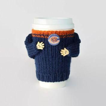 ONETOW Chicago Bears coffee cozy. NFL Bears jersey. Blue orange. Knitted cup sleeve. Travel m