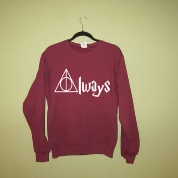 Always Deathly Hallows Symbol in White Ink Printed on a Maroon Unisex Crewneck Sweatshirt Sweater