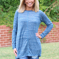 Casual Confidence Lightweight Tunic ~ Blue