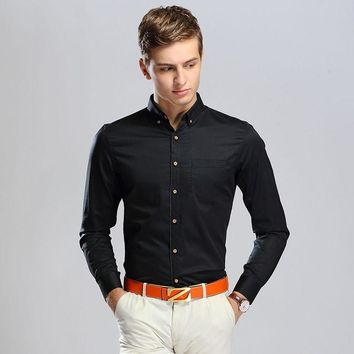 Men Long Sleeve Cotton Shirt With Pocket Blouse [6544521731]
