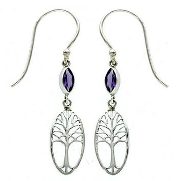 Amethyst Marquise Tree of Life Earring