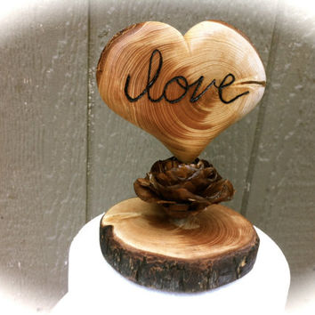 rustic wedding cake topper wooden heart fall country forest pine cone weddings