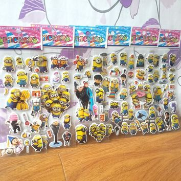 10PCS/lot 3D carton bubble sticker of minion Me2 puffy stickers for kid's birthday present, party favor