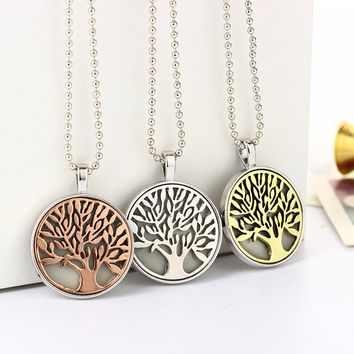 Steampunk Glow In the Dark Luminous Stone Tree Of Live Locket Pendant Necklace