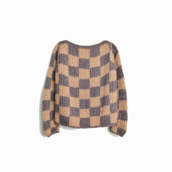 Vintage Checkered Brown Wool Sweater / Super Chunky Wool Sweater - women's small/medium