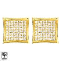 Jewelry Kay style Men's Iced Out Brass Gold Plated CZ Caved Square Screw Back Earrings SE 4776 G
