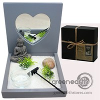Green Earth Stores | 00213919502 - Zen Garden - Heart Mirror Gray