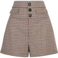 Chloé - High-rise houndstooth wool-blend tweed shorts