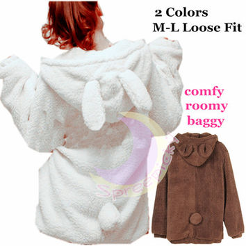 Kawaii Fluffy Bunny/Bear Ear Hoodie Coat Double Sides Fleece Jacket SP141466 from SpreePicky