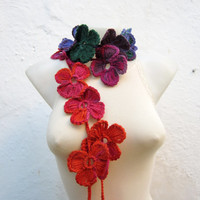 Handmade crochet Lariat Scarf  Pink Green  Orange  Flower Lariat Scarf Colorful Variegated Long Necklace Winter Fashion