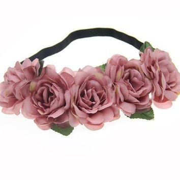 PEAPGC3 Fabric Lotus Flower Headbands for Woman Girls Hair Accessories Bridal Wedding Flower Crown Headband Forehead Hair Band