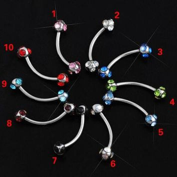 ac DCCKO2Q 10 pcs 10 color mix Crystal eyebrow ring Ball Micro Barbells Eyebrow Rings body jewelry body piercing jewelry