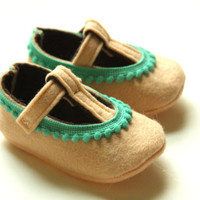 Choose Your Size - Peach with Teal Pom Pom Trim - Baby Girls Soft Soled Shoes - Infant House Shoes - Wool Felt Baby Girls Booties