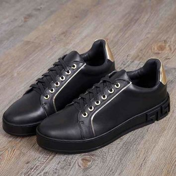 Versace black/gold Fashion Casual Women Men Sneakers Sport Shoes