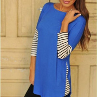Blue Striped Contrast Three Quarter Sleeve Blouse